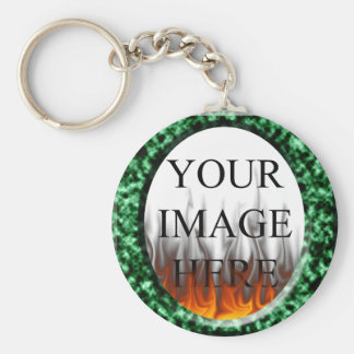 Green Marble Square Frame with fire Template Basic Round Button Keychain