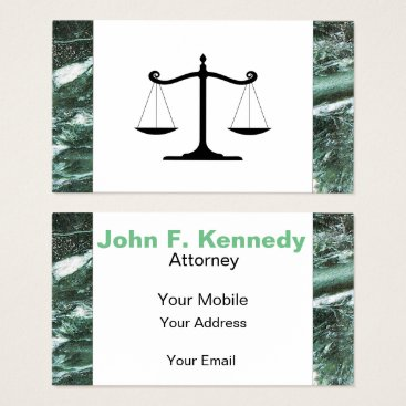 Lawyer Themed Green Marble Stone Texture attorney Business Card
