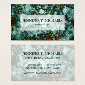 Green Marble Texture With Veins Business Card
