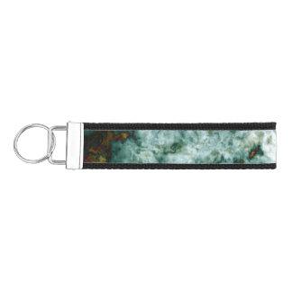 Green Marble Texture With Veins Wrist Keychain