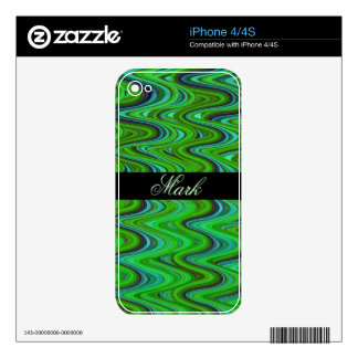 Green Marbled Modern with  Custom Name Skin For iPhone 4