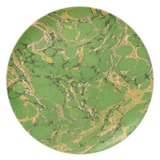 Green Marbleized Dinner Plate