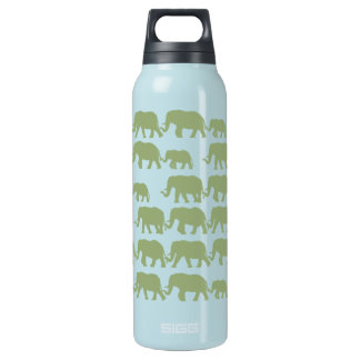Green Marching Elephant Family Insulated Water Bottle