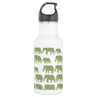 Green Marching Elephant Family 18oz Water Bottle