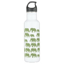 Green Marching Elephant Family Water Bottle