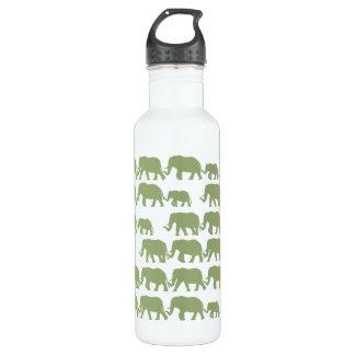 Green Marching Elephant Family Water Bottle