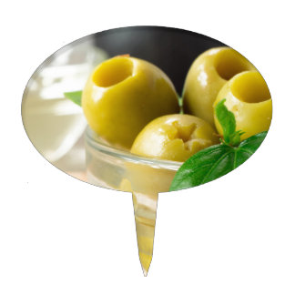 Green marinated olives pitted adorned with green cake topper