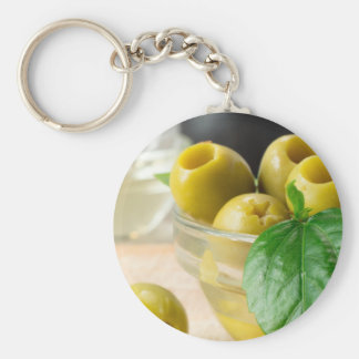Green marinated olives pitted adorned with green keychain