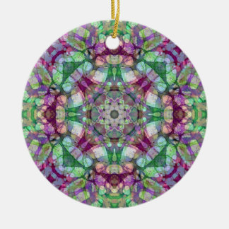 "Green, Maroon, and Purple ""Lilac Dreams"" Mandala Double-Sided Ceramic Round Christmas Ornament"