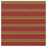 [ Thumbnail: Green & Maroon Colored Lined/Striped Pattern Fabric ]