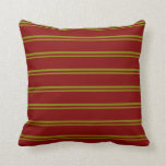 [ Thumbnail: Green & Maroon Colored Lined/Striped Pattern Throw Pillow ]