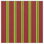 [ Thumbnail: Green & Maroon Colored Pattern of Stripes Fabric ]