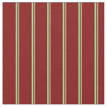 [ Thumbnail: Green & Maroon Colored Stripes Fabric ]