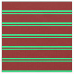 [ Thumbnail: Green & Maroon Colored Stripes/Lines Pattern Fabric ]