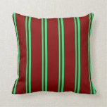 [ Thumbnail: Green & Maroon Colored Stripes/Lines Pattern Throw Pillow ]