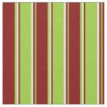 [ Thumbnail: Green, Maroon & Light Cyan Stripes Fabric ]