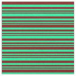 [ Thumbnail: Green & Maroon Lines Fabric ]
