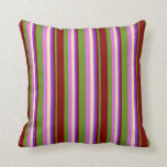 [ Thumbnail: Green, Maroon, Purple, Beige, and Orchid Colored Throw Pillow ]