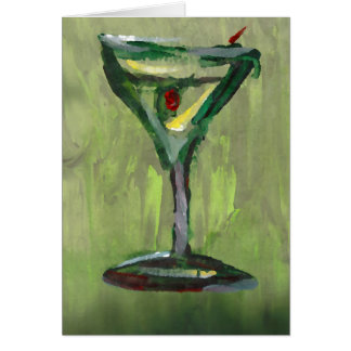 green martini abstract kitchen cocktail bar art card