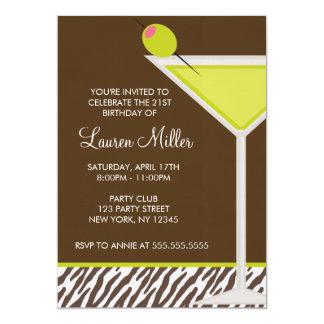 Green Martini and Zebra Pattern Custom Announcements