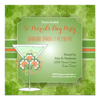 Green Martini Clover St Patrick's Day Party Card