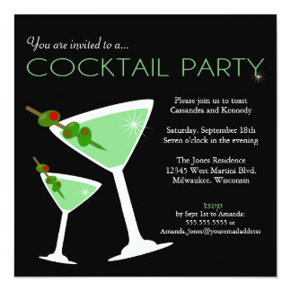 Green Martini Cocktail Party Invitation