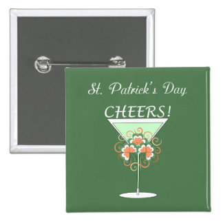 Green Martini St. Patrick's Day Pinback Button