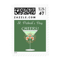 Green Martini St. Patrick's Day Postage