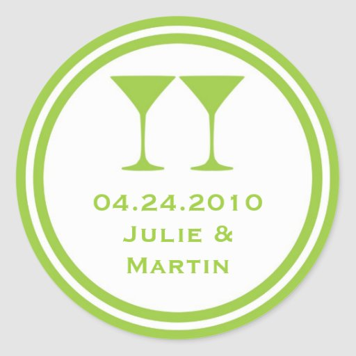 Green martini wedding favor tag seal label stickers