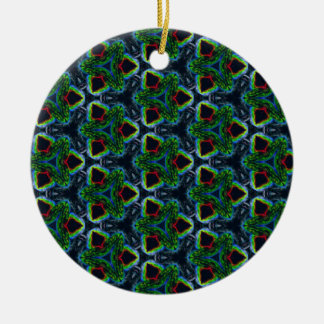 Green Masculine Pattern With Red & Blue Undertones Ceramic Ornament