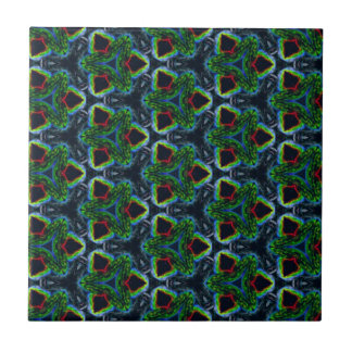 Green Masculine Pattern With Red & Blue Undertones Ceramic Tile
