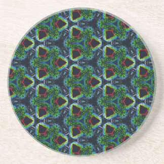 Green Masculine Pattern With Red & Blue Undertones Coaster