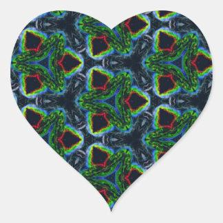 Green Masculine Pattern With Red & Blue Undertones Heart Sticker