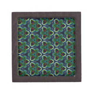 Green Masculine Pattern With Red & Blue Undertones Jewelry Box