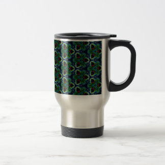 Green Masculine Pattern With Red & Blue Undertones Travel Mug