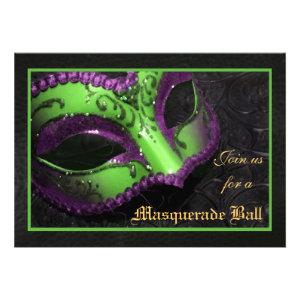 Green Mask Masquerade Ball Halloween Invitation
