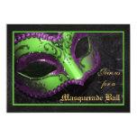 "Green Mask Masquerade Ball Halloween Invitation 5"" X 7"" Invitation Card"