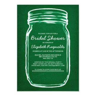 Green Mason Jar Bridal Shower Invitations Invites