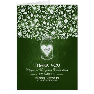 Green mason jar floral wedding thank you card