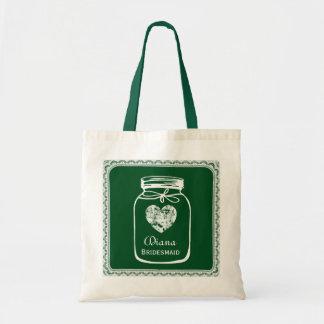 Green Mason Jar Wedding Tote Bag BRIDESMAID A04