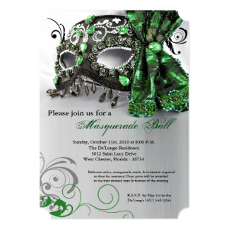 Green Masquerade Mask Ball Costume Halloween 5x7 Paper Invitation Card