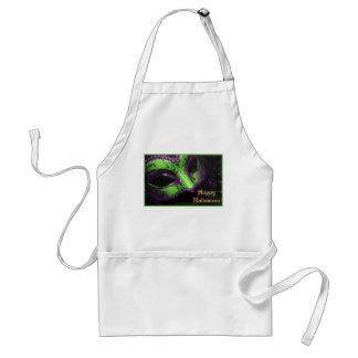 Green Masquerade Mask Halloween Kitchen Apron