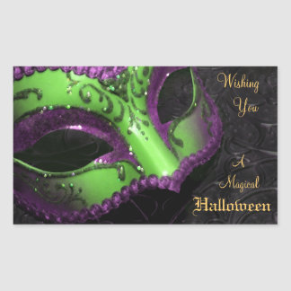 Green Masquerade Mask Halloween Party Stickers