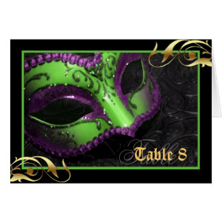 Green Masquerade Mask Table Number Card