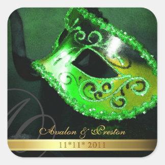 Green Masquerade Swirl Save The Date Sticker