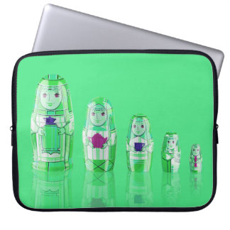 Green Matryoshka Russian Dolls Laptop Sleeve