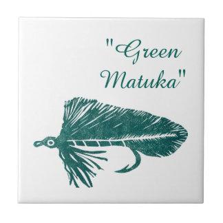 """Green Matuka"" streamer trout fly tile. Tile"