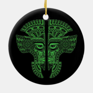 Green Mayan Twins Mask Illusion on Black Double-Sided Ceramic Round Christmas Ornament