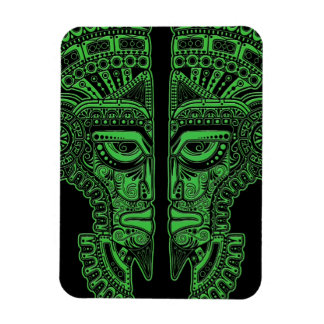 Green Mayan Twins Mask Illusion on Black Flexible Magnets