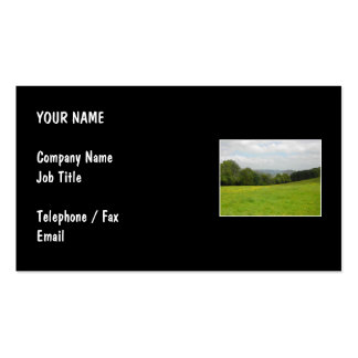 Green meadow. Countryside scenery. Business Card